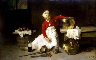 Жозеф Байль. Поваренок на кухне