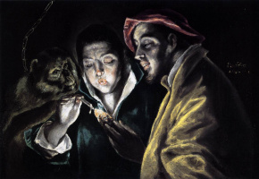 A boy lighting a candle in company of a monkey and a fool