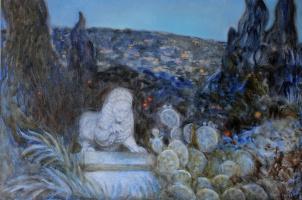 Svitlana Sova. Вечірній пейзаж зі скульптурою лева