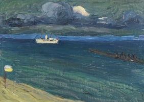 Рапалло. Морской пейзаж с пароходом