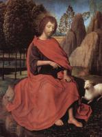 Ганс Мемлинг. Диптих с Иоанном Крестителем и св. Вероникой, левая створка: св. Иоанн Креститель
