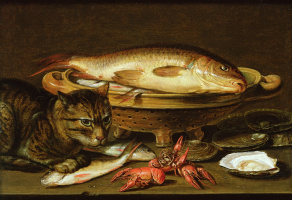 Clara Peeters. Still life with fish and cat