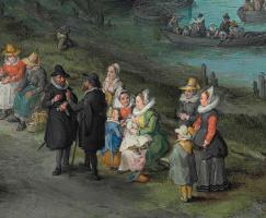 Ян Брейгель Старший. Танцующие фигуры на берегу реки, фрагмент. Портрет художника с семьёй
