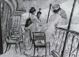 James Tissot. Two ladies and a gentleman