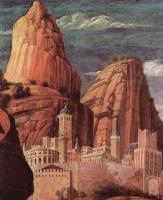 Андреа Мантенья. Христос в Гефсиманском саду, деталь: Пейзаж с городом