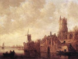 Ян ван Гойен. Речной пейзаж с ветряной мельницей и развалинами замка