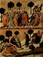 Дуччо ди Буонинсенья. Маэста, алтарь сиенского кафедрального собора, оборотная сторона, Регистр со сценами Страстей Христовых