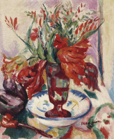 Henri Manguin. Tulips in a red glass