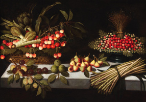 """Still life with a basket of artichokes and cherries, a pewter salver with wild strawberries, a bunch of asparagus, San Juan pears, figs and plums on a stone table"""