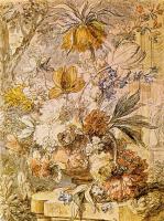 Ян ван Хейсум. Натюрморт с цветами в терракотовой вазе с императорской короной, яблоневым цветом и статуей флоры