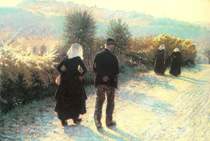 Angelo Morbelli. A walk on a Sunny day