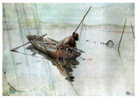 Карл Ларссон. Рыбалка, акварель