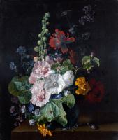 Ян ван Хейсум. Мальвы и другие цветы в вазе