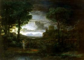 Желле Клод. Пейзаж со сценой борьбы Иакова с ангелом