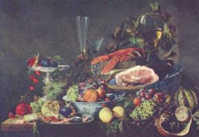 Ян Давидс де Хем. Натюрморт с фруктами и омаром