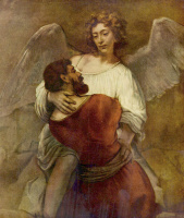 Рембрандт Ван Рейн. Иаков борется с ангелом