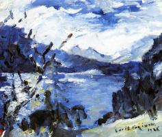 Lovis Corinto. Lake Walchen with a mountain range on the horizon and cliff