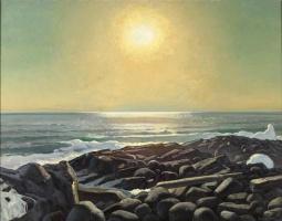 Rockwell Kent. The sun over the sea. Man, Monhegan