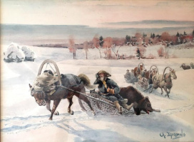 "Alexander Sergeevich Khrenov. From the series ""Royal hunt"". 191538,1 x 50.8."