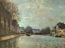 Alfred Sisley. View of the canal Saint-Martin