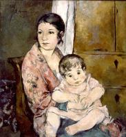 Александр Васильевич Шевченко. Портрет жены с дочерью. 1924