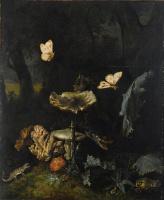 Отто Марсеус ван Скрик. Натюрморт с грибами, гадюкой и чертополохом