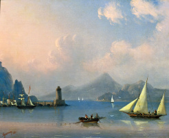 Ivan Aivazovsky. Sea Strait with the lighthouse