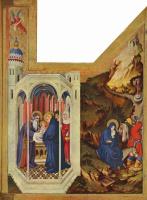 Мельхиор Брёдерлам. Алтарь для Филиппа Храброго, герцога Бургундского, правая створка: сретение и бегство в Египет