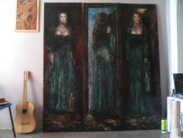 "Unknown artist. Triptych""Anna had spilled the oil"""