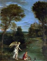 Доменикино . Пейзаж с Тобиасом схватив рыбу