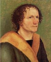Альбрехт Дюрер. Мужской портрет на зеленом фоне