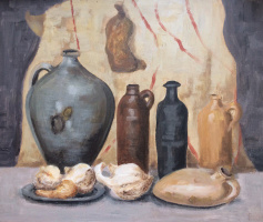 """Andrey Leonidovich Shepel. """"Still life with jugs and pumpkins dried"""""""