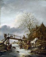Ван Остаде Йсакк. Зимняя сцена