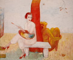 Florina Stettheimer. Self-portrait with palette (Painter and Faun)