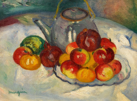 Henri Manguin. Still life with apples and a kettle