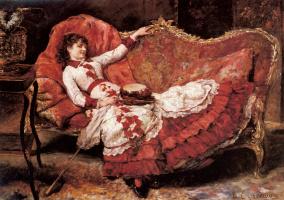 Эдуардо Леон Гарридо. Элегантная дама в красном платье
