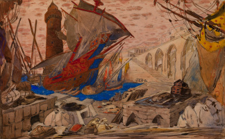 Lev Samoilovich Bakst (Leon Bakst). Port Famagusta. A sketch of the scenery for the play