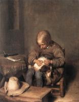 Герард Терборх. Мальчик избавляет свою собаку от блох