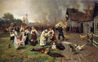 Николай Дмитриевич Дмитриев-Оренбургский. Пожар в деревне