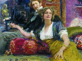 Портрет поэта С. М. Городецкого с женой