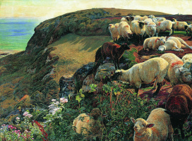 William Holman Hunt. A flock of sheep on the English coast
