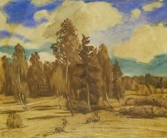 Александр Федорович Гауш. Опушка леса в коричневом тоне