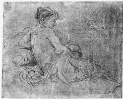Рембрандт Харменс ван Рейн. Полуобнажённая молодая женщина