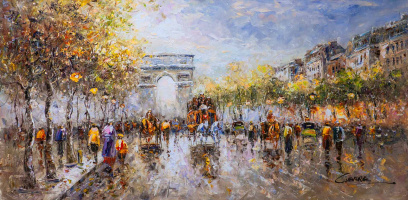 "Christina Viver. Пейзаж Парижа Антуана Бланшара ""Champs Elysees, Arc de Triomphe"""
