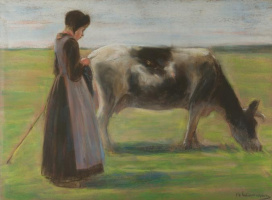 Max Lieberman. Girl with cow