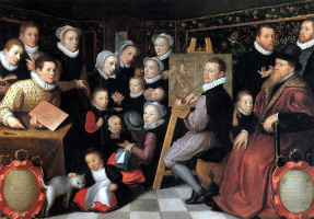 Otto van Wen. The artist Otto Venius surrounded by household