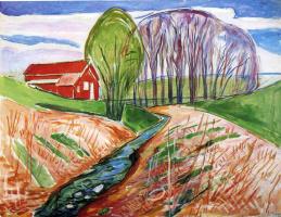 Эдвард Мунк. Весенний пейзаж с красным домом