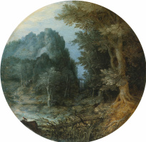 Rocky forest landscape with castle.