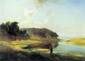 Алексей Кондратьевич Саврасов. Пейзаж с рекой и рыбаком