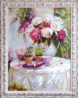 Composition with peonies and violets